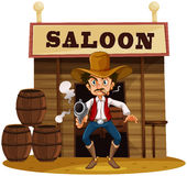 A man holding a gun outside the saloon bar Royalty Free Stock Photos