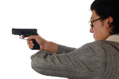 Man holding gun profile Stock Photo