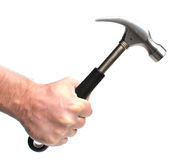 Man holding hammer. Man hand holding hammer isolated Royalty Free Stock Photography