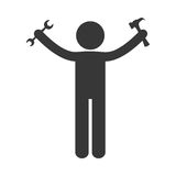 Man holding hammer wrench tools repair figure pictogram. Illustration eps 10 Stock Image
