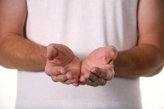 Man Holding Hands Out Stock Photography