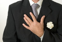 Man Holding Heart - horizontal Stock Image