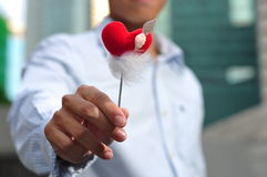 Man Holding A Heart Shape Stick Stock Image