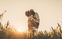 Young couple kissing on the background of a sunset in the wheat field royalty free stock image