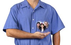 Man Holding His Family Close To His Heart royalty free stock image