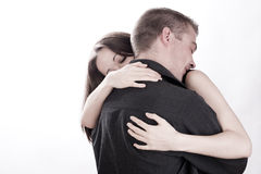 Man is holding his girlfriend Royalty Free Stock Image