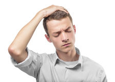 Man holding his hands. A white man has stress and worry and he is holding his hands on his head. Use it for a headache, money trouble or security concept Stock Images