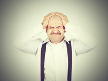 Man holding his head pain. Royalty Free Stock Photography