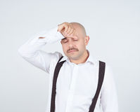 Man holding his head pain. Royalty Free Stock Images