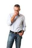 Man holding his nose because of sinus pain Stock Image