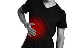 The man is holding his side. Pain in the liver. Cirrhosis. The h. Earth is highlighted in red. Close up. Isolated on white background royalty free stock photos