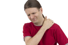 Man holding his tense shoulder Royalty Free Stock Image