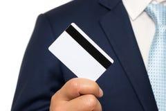 Man holding holding blank credit card. On white background Stock Photo