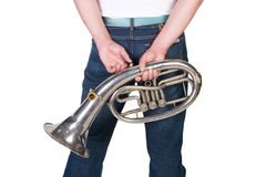 Man holding a horn Royalty Free Stock Photos