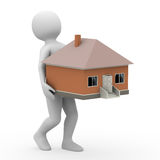 Man is holding the house, 3d rendering Royalty Free Stock Photo