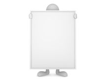 Man Holding Huge Blank Board Royalty Free Stock Images