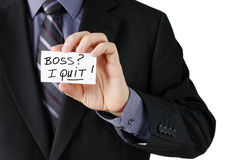 Man holding I quit card Stock Photos