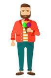 Man holding icecream Stock Images