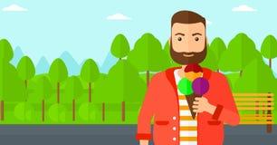 Man holding icecream. Stock Photos