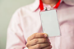 Man holding ID card Stock Photography