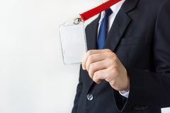 Man holding Identification card. Royalty Free Stock Photography