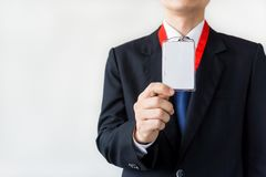 Man holding Identification card. Stock Images