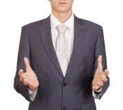 Man holding imaginary object Royalty Free Stock Photo