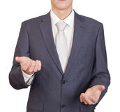 Man holding imaginary object Royalty Free Stock Photography