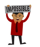 Man holding Impossible sign. Concept of making the impossible possible. isolated on white background vector illustration
