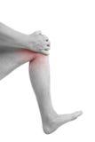 Man holding injured knee. Royalty Free Stock Photo