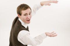 Man holding invisible box Royalty Free Stock Photo