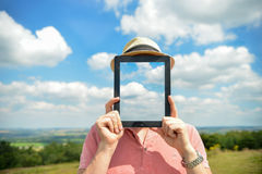 Man Holding iPad Stock Photo
