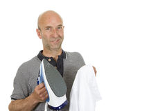 Man holding an iron Royalty Free Stock Photos