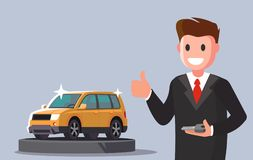 Man holding key from new car. Vector flat Royalty Free Stock Images