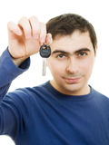 Man holding keys in his hand Royalty Free Stock Images