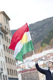 Man Holding the Kurdish Flag during Demonstration Stock Photo