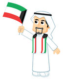 Man Holding kuwait flag Royalty Free Stock Image
