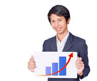 Man is holding a label chart up. On white background Royalty Free Stock Photography