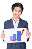 Man is holding a label chart up. On white background Stock Photo