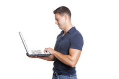 Man holding laptop Royalty Free Stock Image