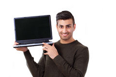 Man holding laptop Stock Photos