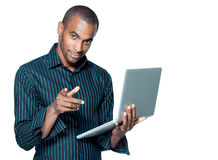 Man holding laptop computer Stock Images