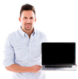 Man holding a laptop Stock Photography