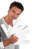 Man holding large WWW letters Stock Images