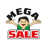 Man holding the letter. Mega sale. Information about the big sale. Vector illustration Royalty Free Stock Photo