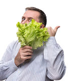 Man holding lettuce isolated on white Stock Photography