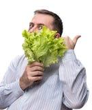 Man holding lettuce isolated on white Stock Photography