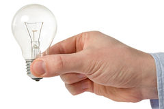 Man holding light bulb Stock Photo