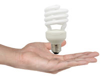 Man holding light bulb in his hand Stock Photography