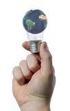 Holding light bulb Stock Image
